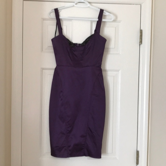 bebe Dresses & Skirts - Bebe Purple dress with black lace on the top